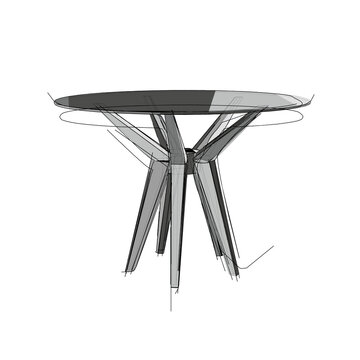 Technical drawing of a restaurant round table in an architectural style. Schematic vector illustration of commercial kitchen table with glass top on white background