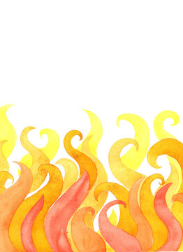 Abstract flame background watercolor fo decoration on hot weather theme concept.