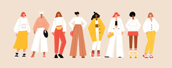 Fototapeta Group of diverse young modern women wearing trendy clothes. Casual stylish city street style fashion outfits. Woman power concept banner. Hand drawn characters colorful vector illustration.