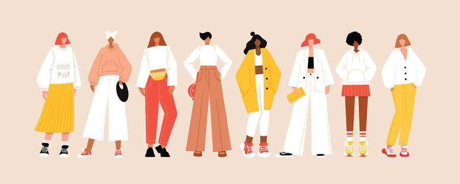 Group of diverse young modern women wearing trendy clothes. Casual stylish city street style fashion outfits. Woman power concept banner. Hand drawn characters colorful vector illustration.