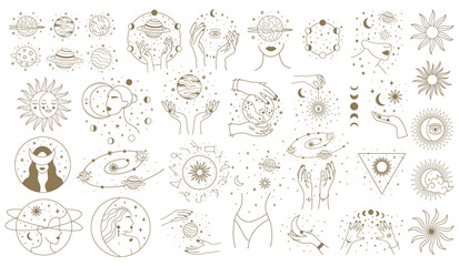 Obraz Mystical astrology elements. Magical space objects, planets, stars with female hands and faces vector illustration set. Minimalist woman cosmic objects - fototapety do salonu