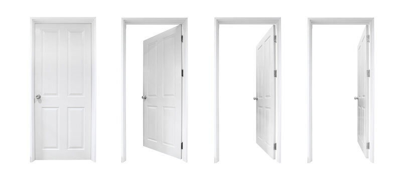white open and closed doors with doorframe on white background