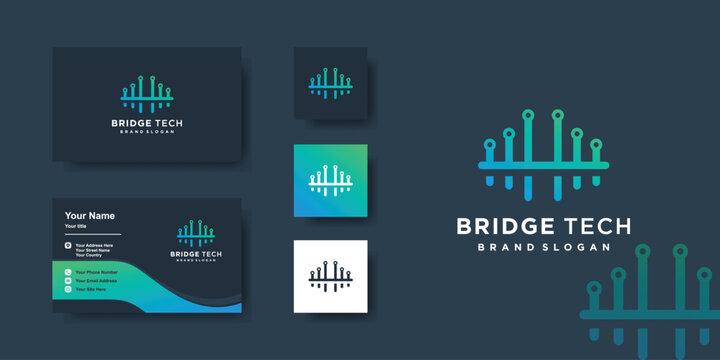 Bridge logo with technology concept and business card design, creative, computer, Premium Vector