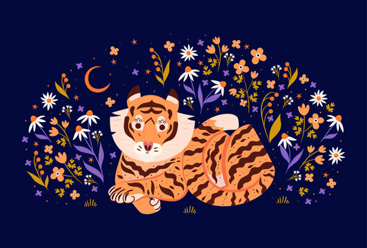 Postcard with tiger and flowers on a dark background. Vector graphics.