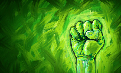 Ecological justice abstract concept as a fist painted in diverse green colors fighting for the environment and environmental and ecological equal rights and conservation social fairness