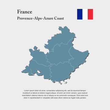 Vector map divide France region Alpes-Cote Azur