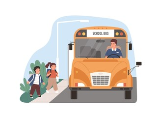 Yellow school bus driver arrived at stop with children. Kids entering schoolbus. Transport for schoolchildren. Flat vector illustration of schoolkid's transportation isolated on white background