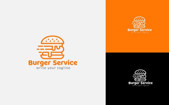 Burger Delivery Service Logo Vector Template Illustration, Express Delivery Concept. Burger Or Fast Food Service, Concept For Food Delivery Service.