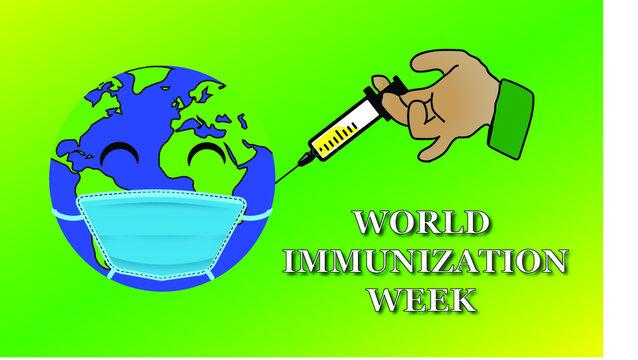 world immunization week . vector as a poster ,banner , template .