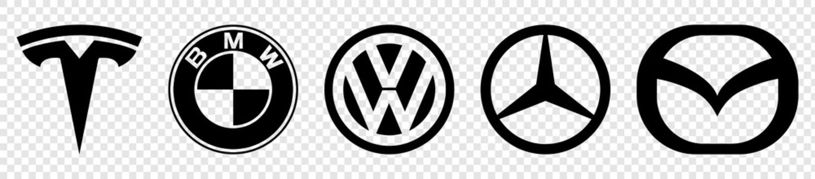 Vinnytsia, Ukraine - April 21, 2021: Logo of cars brand set. Black logo of popular brands of cars. Tesla, bmw, volkswagen, mercedes, mazda. Vector illustration isolated on transparent background