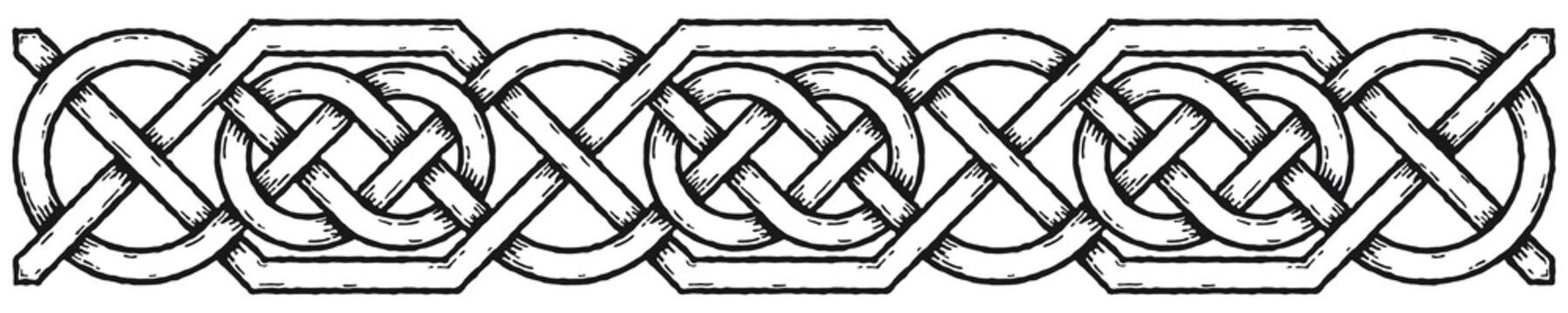 Celtic border with circles, with shadows. Linear border made with Celtic knots for use in designs for St. Patrick's Day.