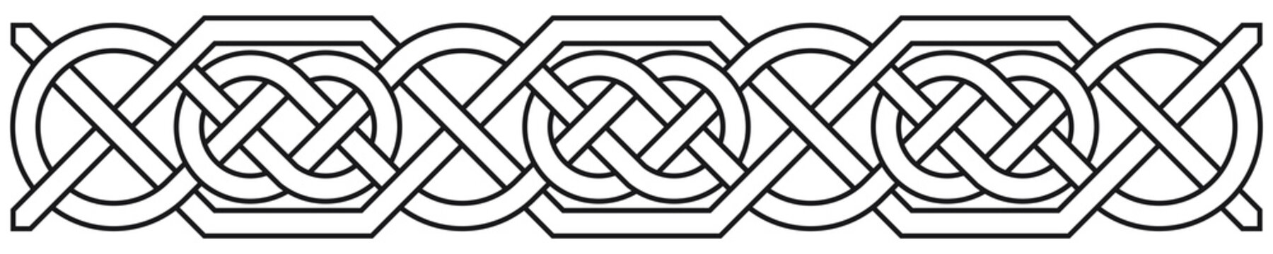 Celtic border with circles. Linear border made with Celtic knots for use in designs for St. Patrick's Day.