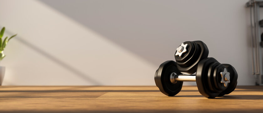 3D rendering, dumbbells on wooden floor in concept fitness room, 3D illustration
