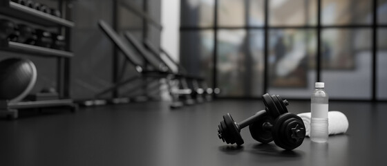 3D rendering, dumbbells on the floor in concept fitness room with training equipments in the back