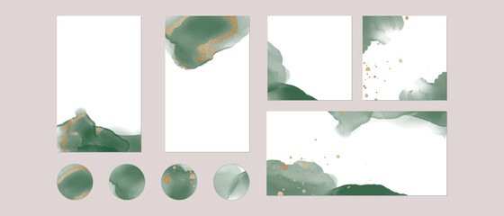 Instagram social media highlights, story post feed background template. vector watercolor green gold layouts with copy space for text for banner. abstract, luxury texture for beauty, fashion, make up Wall mural