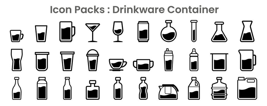 Icon packs of drinkware container and liquor figure in black thin outline illustration vector
