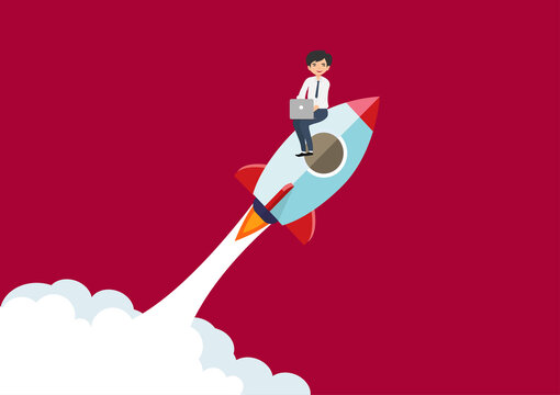 Business people fly with rockets to successful business goals. Flat style cartoon illustration vector