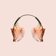 Contemporary art collage, modern design. Summer mood. Headphones made of shells on pastel brown