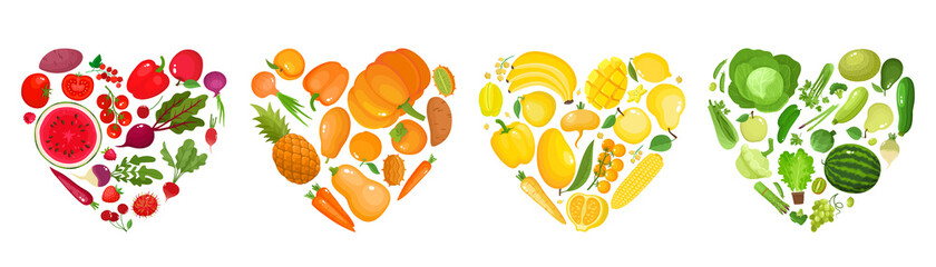 Obraz Vector concept of colorful fruit, vegetables, eat colors for health - fototapety do salonu