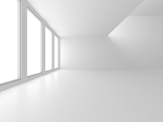 Fototapeta Illuminated corridor interior design. Empty Room Interior Background