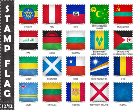 Stamp with official country flag pattern and old grunge texture and countries name . Square shape . Vector . Set 12 of 12 on this series ( All national flags of the world ) .