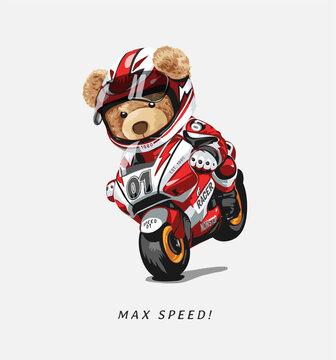 max speed slogan with bear doll riding motorbike vector illustration