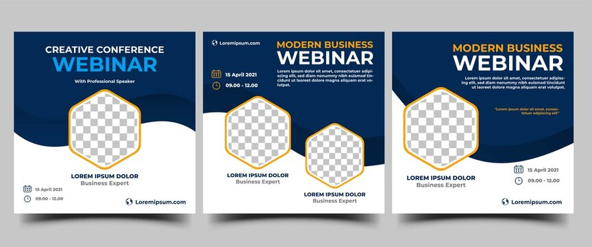 Webinar Social Media template collection. Modern banner design with blue and white background color and place for the photo. Suitable for social media post, banners, flyers, and website.