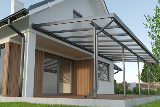 Terrace canopy, glass roof, 3d illustration