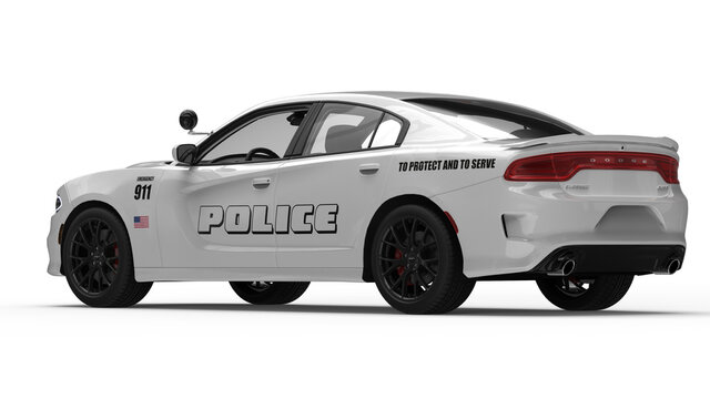 LOS ANGELES, UNITED STATES - Mar 02, 2021: renderings of white police car dodge charger
