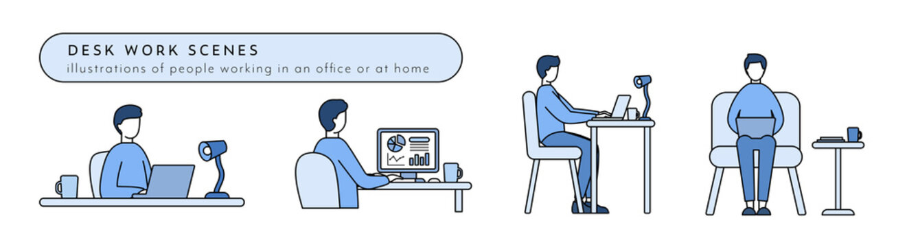 デスクワークのイラストのセット 男性 仕事 ビジネス パソコン リモートワーク PC 働く