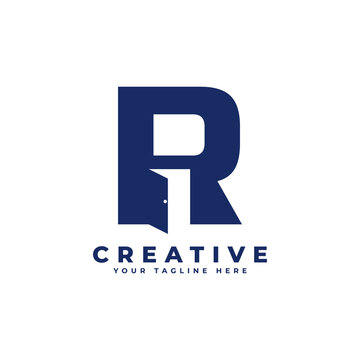Initial Letter R with Door Negative Space Logo Design. Usable for Construction Architecture Building Logo
