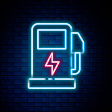 Glowing neon line Electric car charging station icon isolated on brick wall background. Eco electric fuel pump sign. Colorful outline concept. Vector
