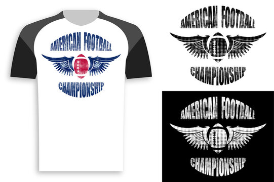 symbol, emblem of sports american football ball with wings for competition. Active lifestyle. Design element, print for clothes. Vector