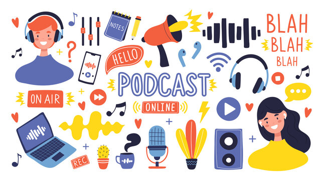 Podcast show collection. Equipment for recording and listening podcast shows: Microphone, laptop, headphones... Hand drawn, cartoon style vector illustration. Isolated vector elements and characters.