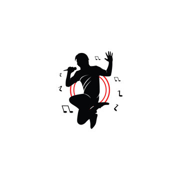 Silhouette of a male logo singing