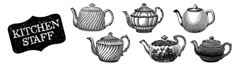 Teapot set. Kitchenware hand drawn. Kitchen staff. Black and white kettel. Cooking utensils engraving. Cooking stuff menu decoration. Engraved sketch in vintage style. English breakfast.