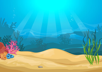Vector cartoon colorful underwater landscape with sea plants and corals