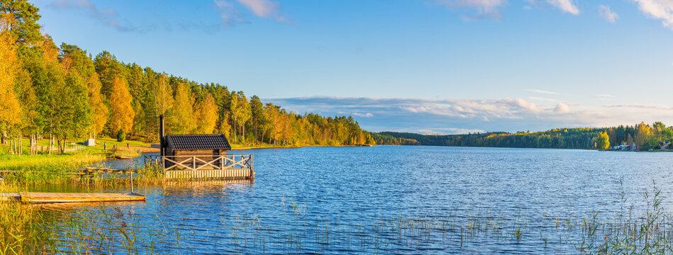 Nossen lake in autumn. Sweden