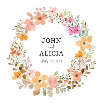 Save the date. Wild floral wreath with watercolor