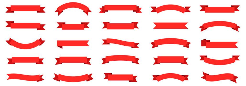 Ribbon banner set. Ribbons collection. Red ribbons. Vector ribbon