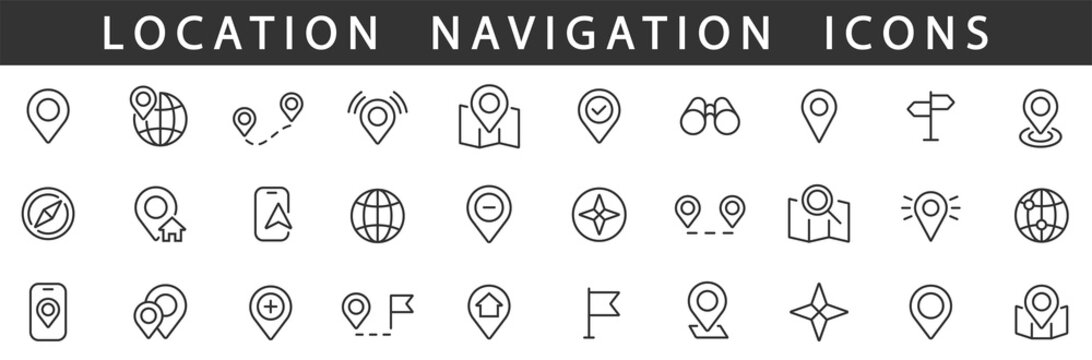 Location icons set. Navigation icons. Map pointer icons. Location symbols. Vector illustration