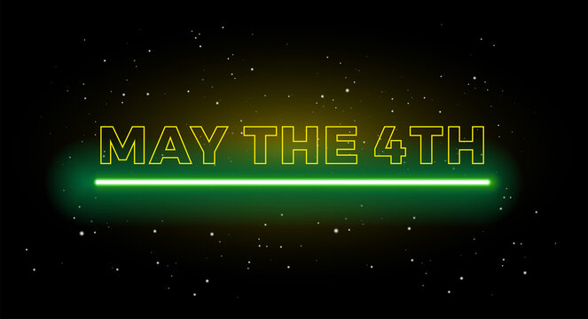 May the 4th holiday greetings vector background illustration yellow