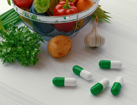 Concentrated Fiber Capsules with Fresh vegetable Salad background. Conceptual photo to choose between herbal medicine or real veggies to support Digestive system. 3d rendering