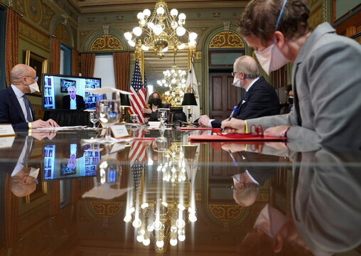 Vice President Harris holds a conversation on Northern Triangle countries from the White House in Washington