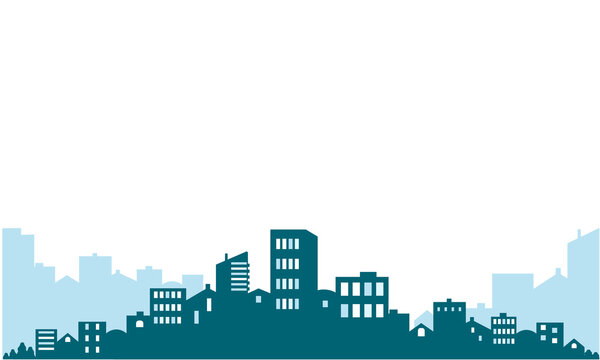 City landscape silhouette of houses. Vector illustration on a transparent background. You can place your text in the center above the image.