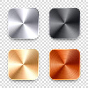 Realistic square metal chrome button. Steel volume control knob. Application interface design element. App icon. Vector illustration.