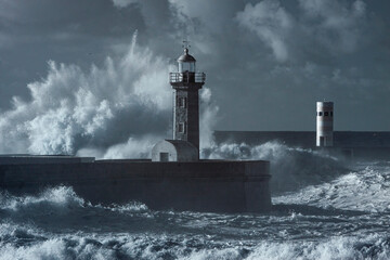 Fototapeta Storm at the Douro mouth north beacon and pier