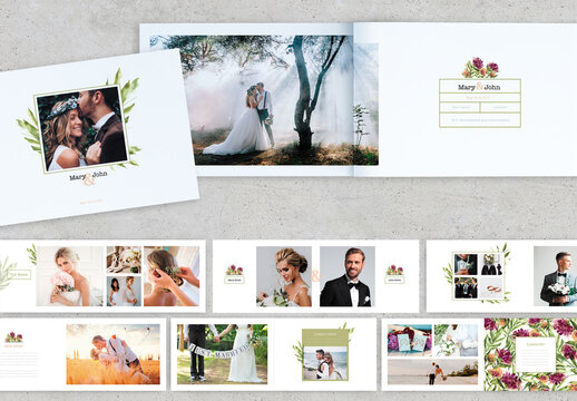 Watercolor Style Wedding Photo Album Layout