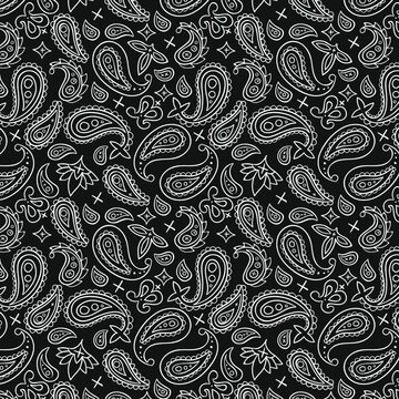 Paisley pattern. Bandana flower twisted floral print ornament. Boho vintage style. Silk cloth neck scarf, square pattern design. Paisley motive on fabric textile or papper. Vector illustration.