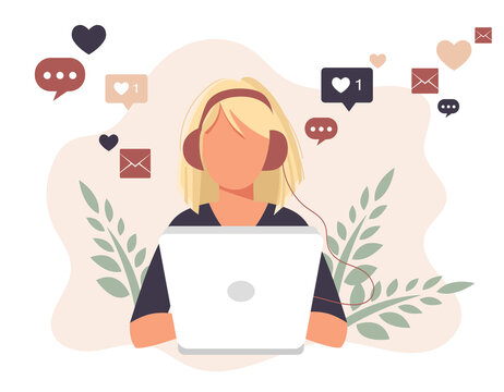 Social network. Woman using lap top for social networking. Chatting. Creative flat design for web banner, marketing material, business presentation, online advertising. Flat vector illustration
